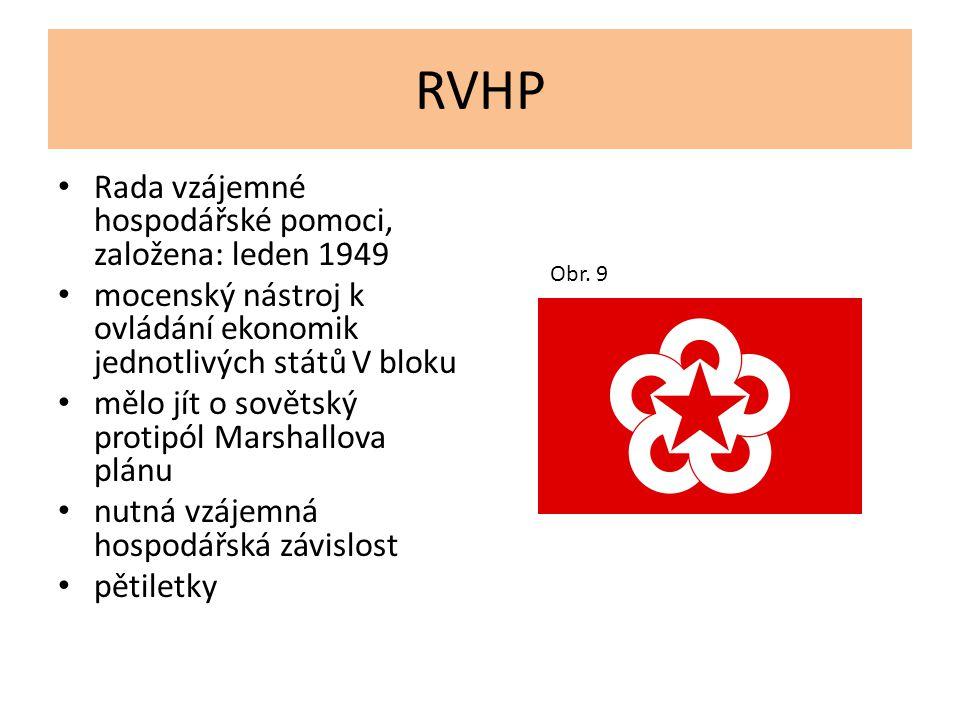 RVHP Rada vzájemné hospodářské pomoci, založena: leden 1949
