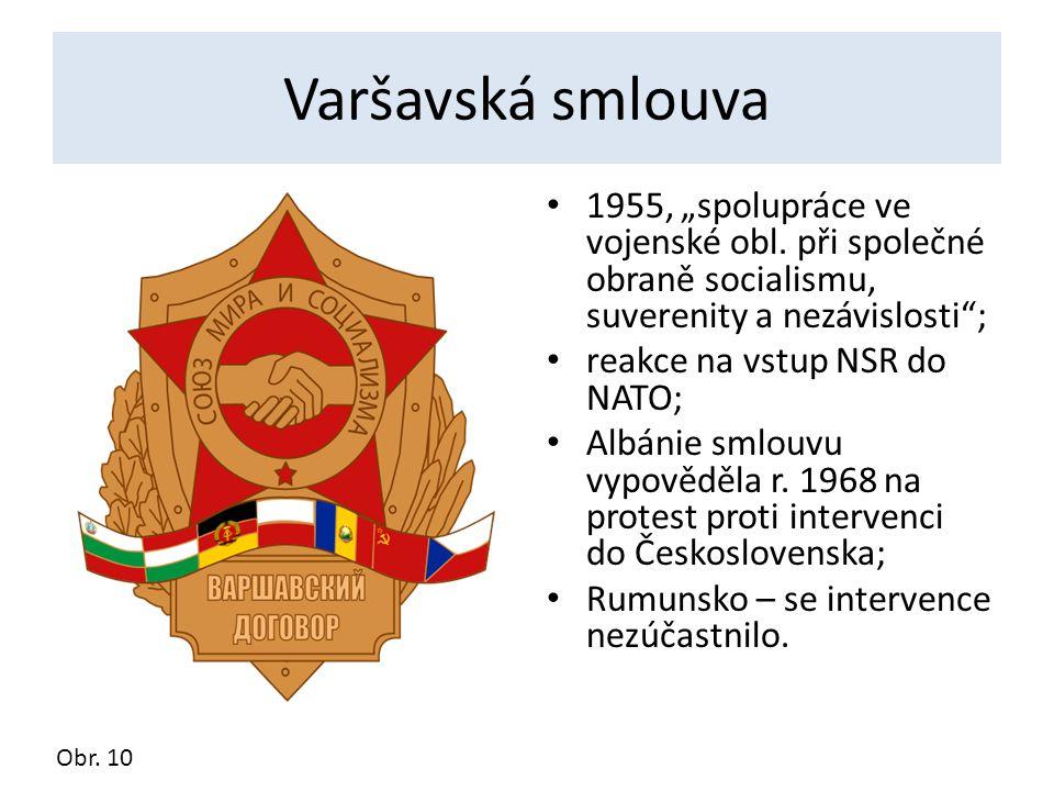 """Varšavská smlouva 1955, """"spolupráce ve vojenské obl. při společné obraně socialismu, suverenity a nezávislosti ;"""