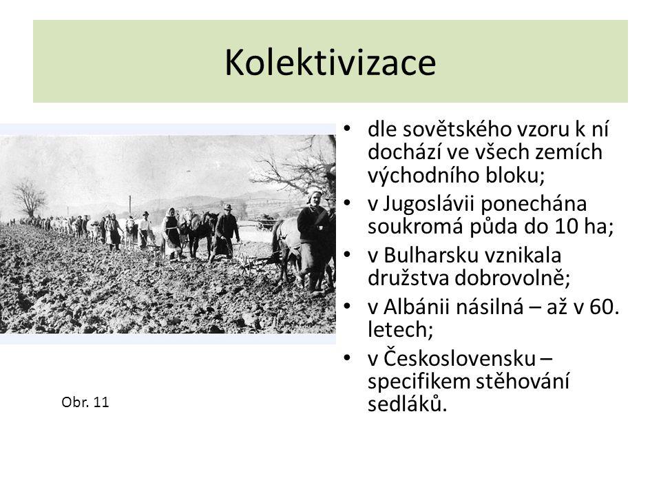 Kolektivizace dle sovětského vzoru k ní dochází ve všech zemích východního bloku; v Jugoslávii ponechána soukromá půda do 10 ha;