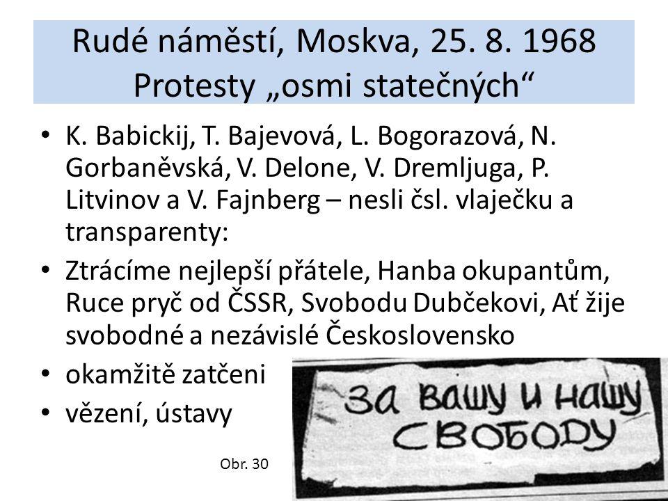 """Rudé náměstí, Moskva, 25. 8. 1968 Protesty """"osmi statečných"""