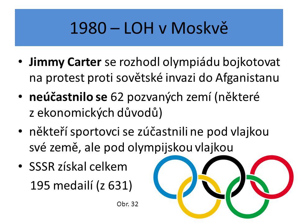 1980 – LOH v Moskvě Jimmy Carter se rozhodl olympiádu bojkotovat na protest proti sovětské invazi do Afganistanu.
