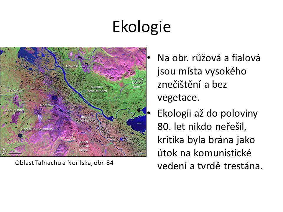 Ekologie Na obr. růžová a fialová jsou místa vysokého znečištění a bez vegetace.