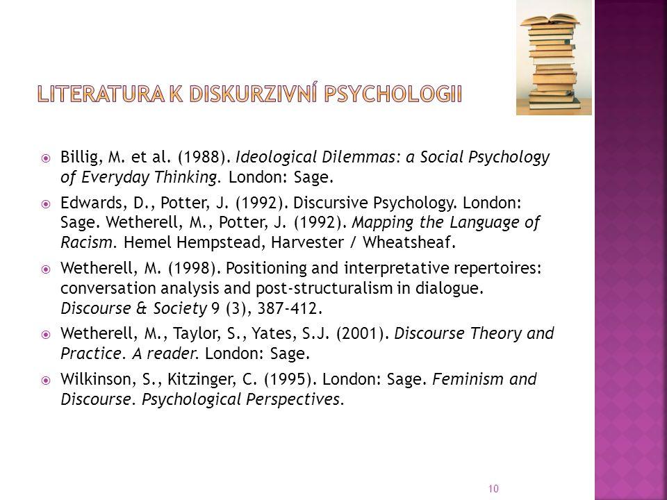 Literatura k diskurzivní psychologii