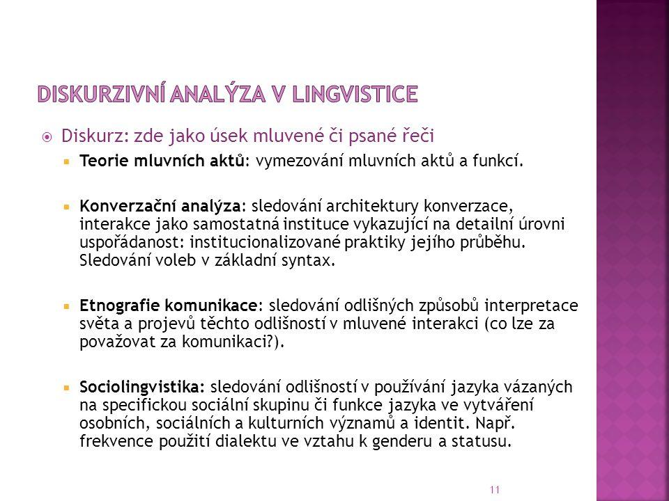 Diskurzivní analýza v lingvistice