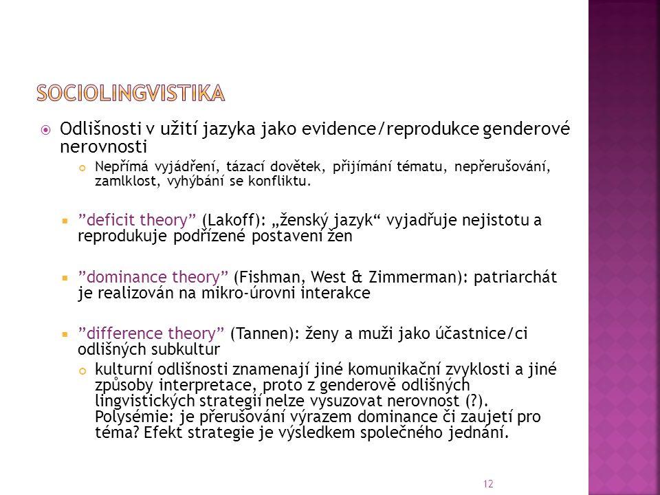 Sociolingvistika Odlišnosti v užití jazyka jako evidence/reprodukce genderové nerovnosti.