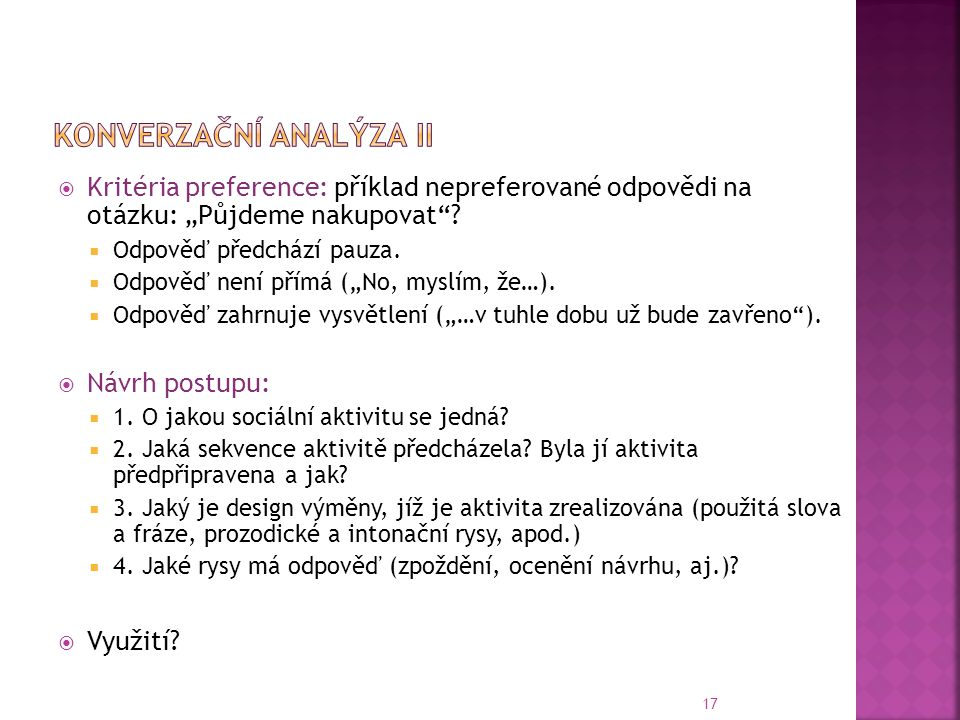 Konverzační analýza II