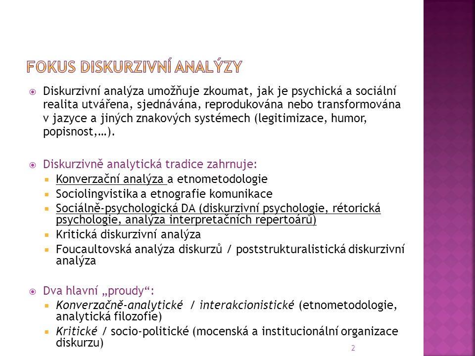 Fokus diskurzivní analýzy