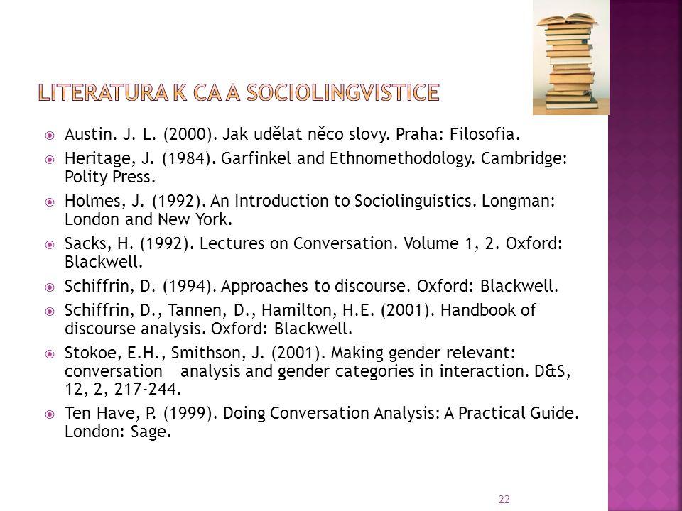 Literatura k CA a sociolingvistice