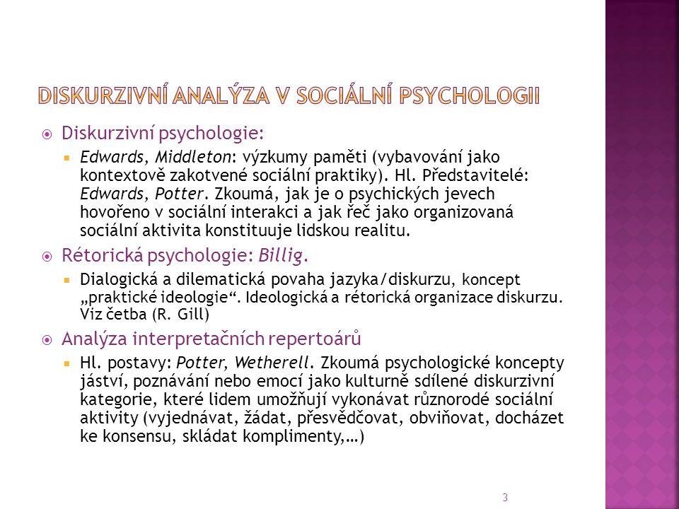 Diskurzivní analýza v sociální psychologii
