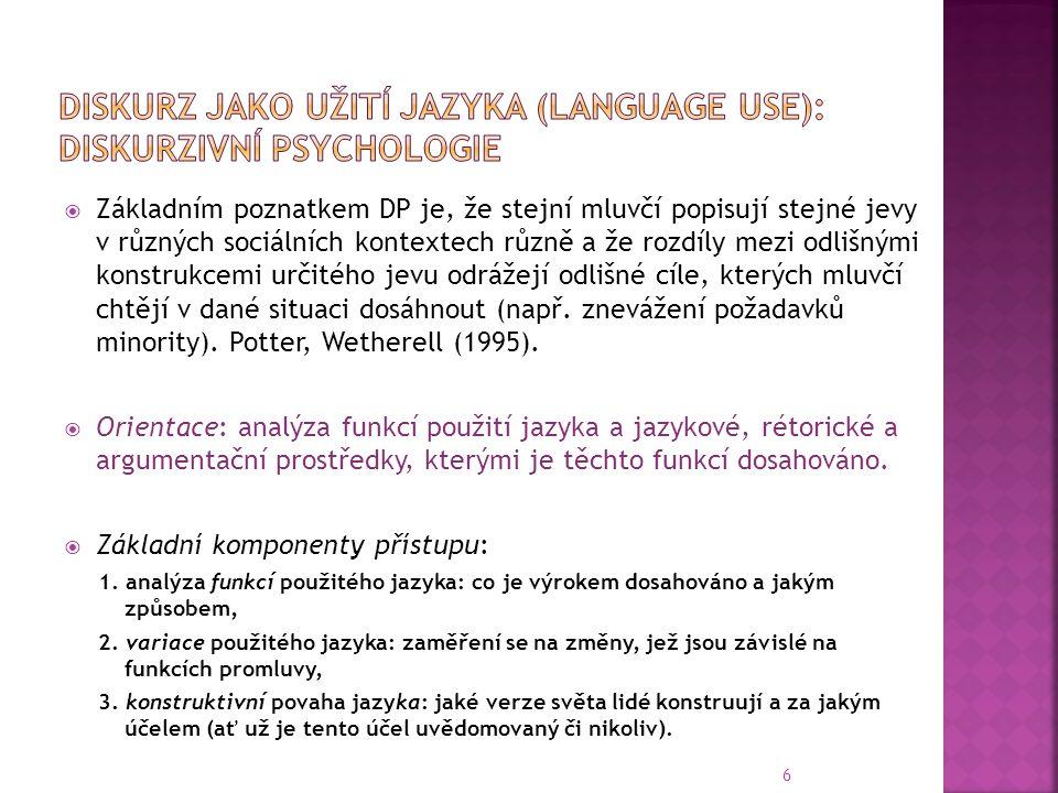 Diskurz jako užití jazyka (language use): diskurzivní psychologie