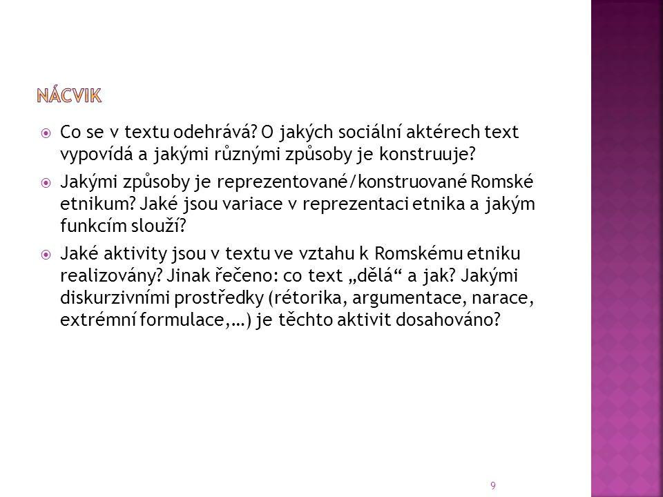 nácvik Co se v textu odehrává O jakých sociální aktérech text vypovídá a jakými různými způsoby je konstruuje