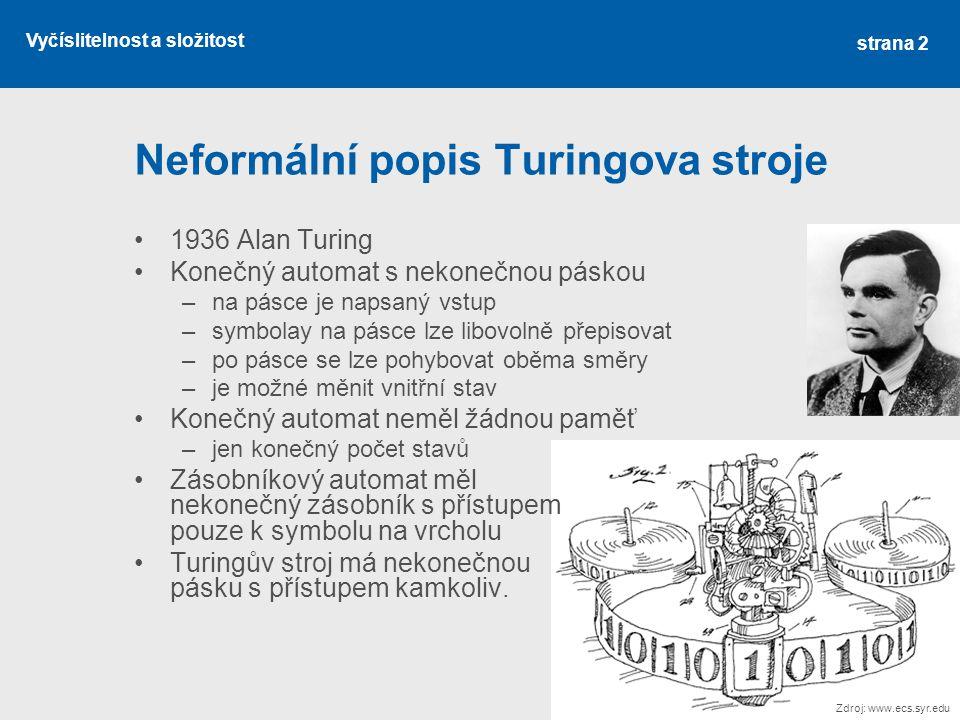 Neformální popis Turingova stroje