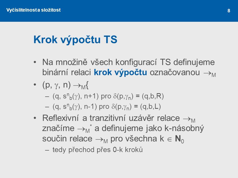 Krok výpočtu TS Na množině všech konfigurací TS definujeme binární relaci krok výpočtu označovanou M.