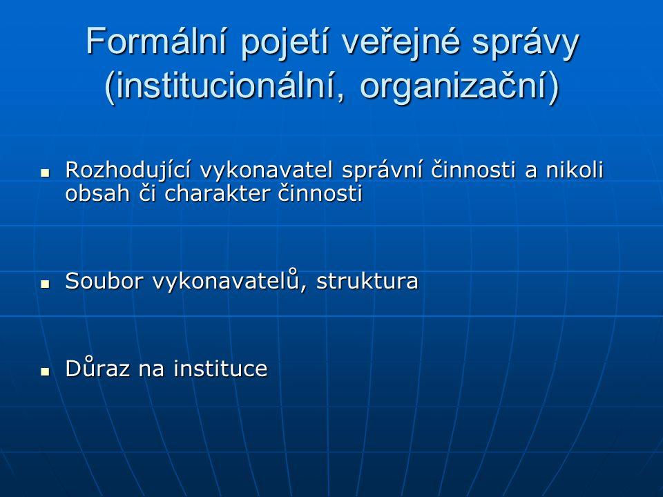 Formální pojetí veřejné správy (institucionální, organizační)