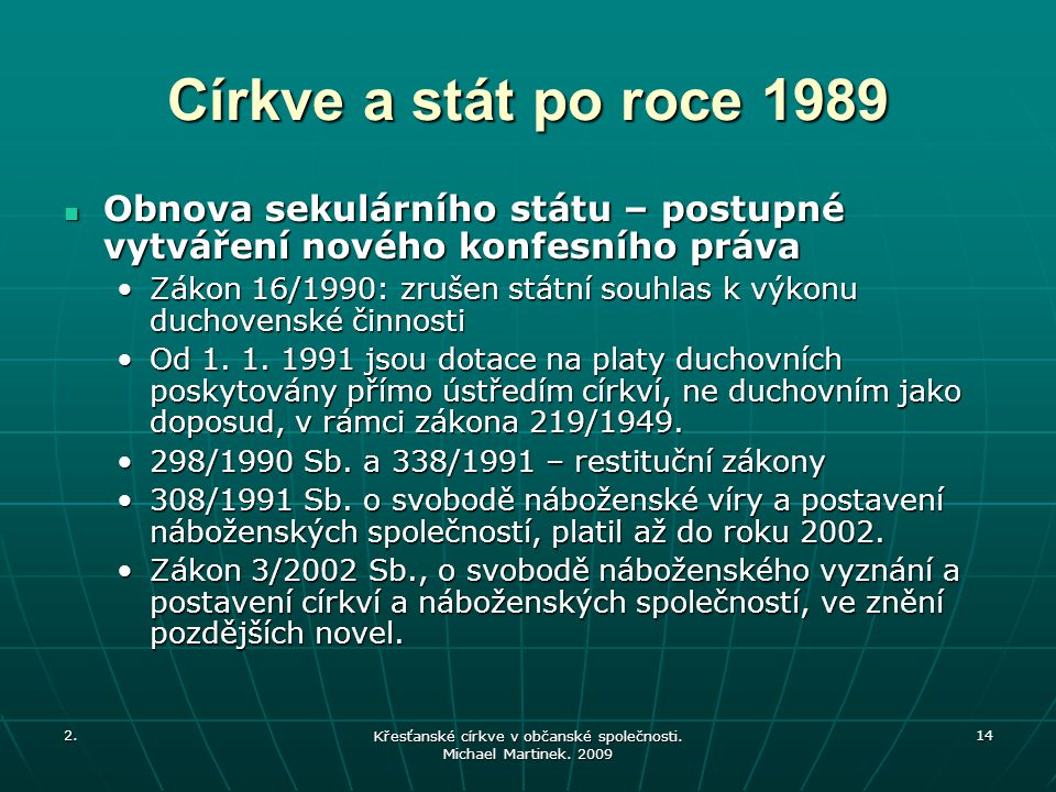 Křesťanské církve v občanské společnosti. Michael Martinek. 2009