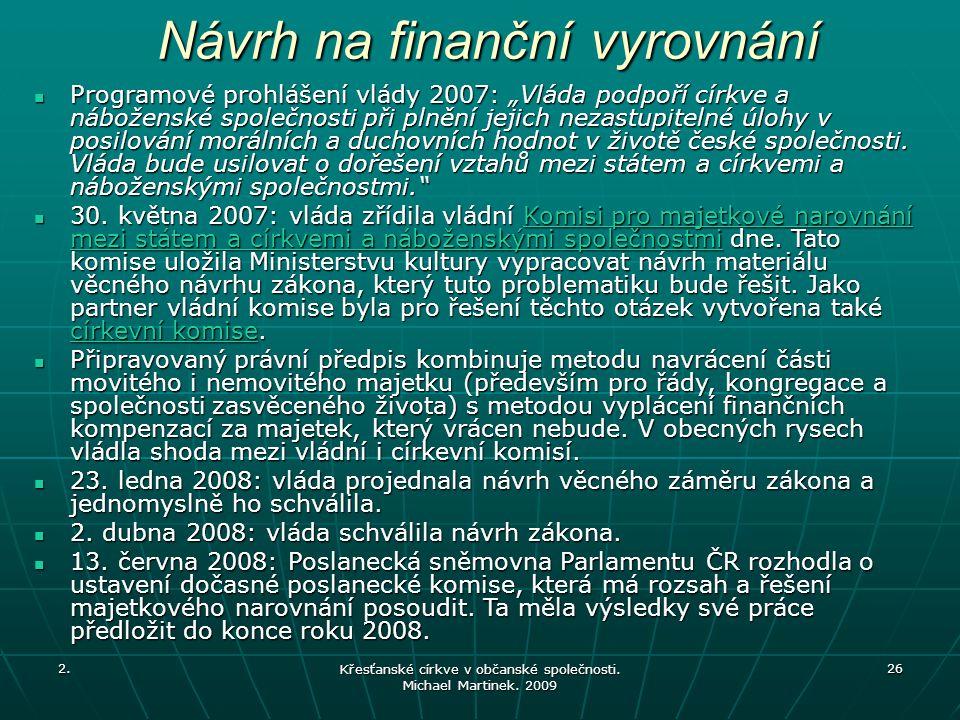 Návrh na finanční vyrovnání