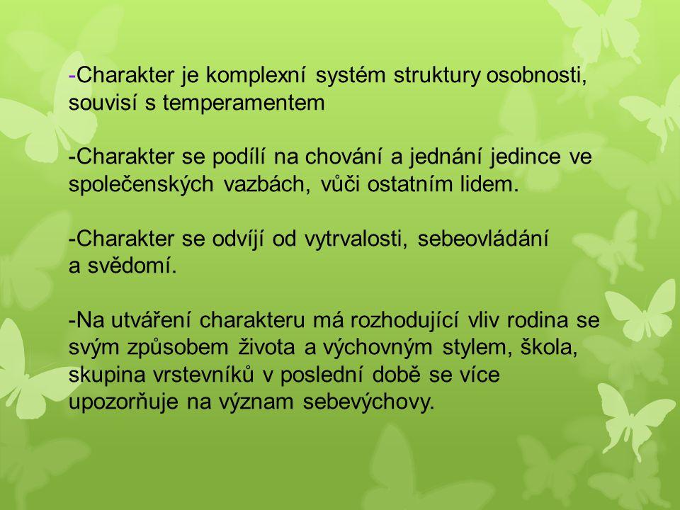 -Charakter je komplexní systém struktury osobnosti, souvisí s temperamentem