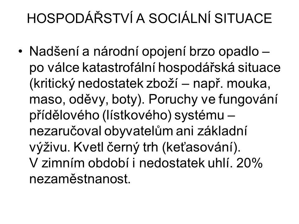 HOSPODÁŘSTVÍ A SOCIÁLNÍ SITUACE