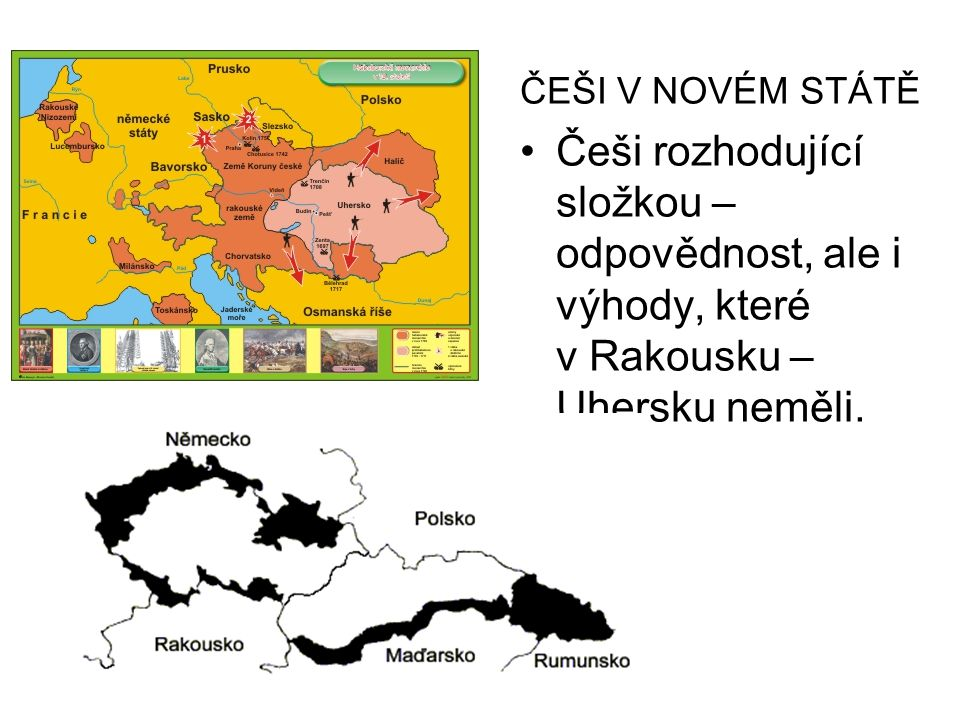 ČEŠI V NOVÉM STÁTĚ Češi rozhodující složkou – odpovědnost, ale i výhody, které v Rakousku – Uhersku neměli.