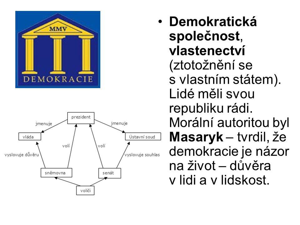 Demokratická společnost, vlastenectví (ztotožnění se s vlastním státem).