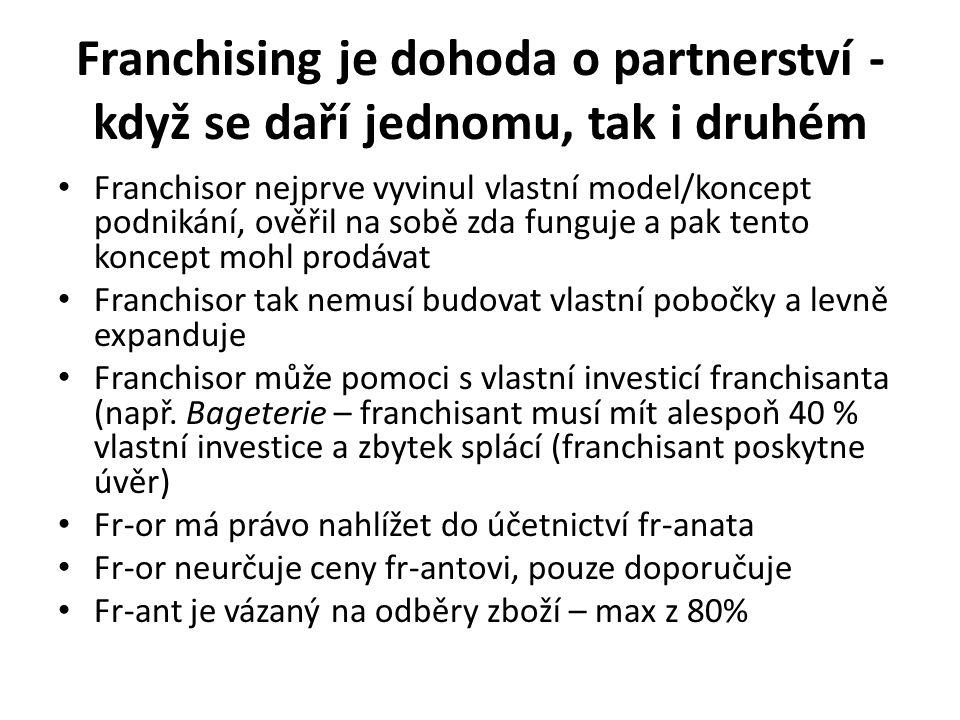 Franchising je dohoda o partnerství - když se daří jednomu, tak i druhém