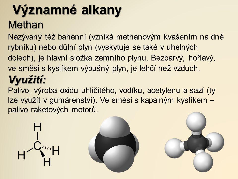 Významné alkany Methan Využití: