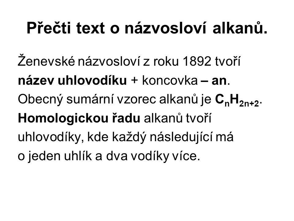 Přečti text o názvosloví alkanů.