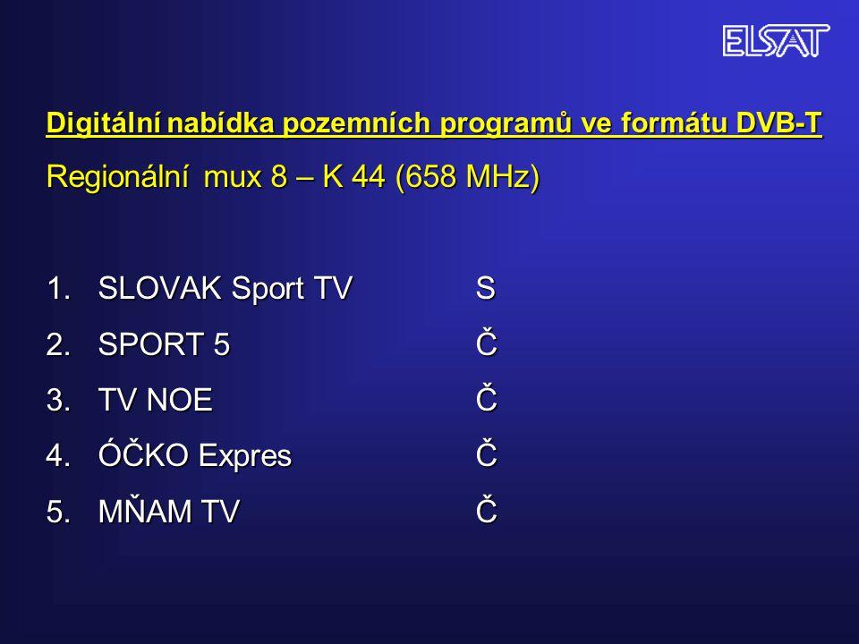 Digitální nabídka pozemních programů ve formátu DVB-T Regionální mux 8 – K 44 (658 MHz) 1.