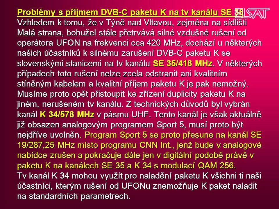 Problémy s příjmem DVB-C paketu K na tv kanálu SE 35 Vzhledem k tomu, že v Týně nad Vltavou, zejména na sídlišti Malá strana, bohužel stále přetrvává silné vzdušné rušení od operátora UFON na frekvenci cca 420 MHz, dochází u některých našich účastníků k silnému zarušení DVB-C paketu K se slovenskými stanicemi na tv kanálu SE 35/418 MHz.