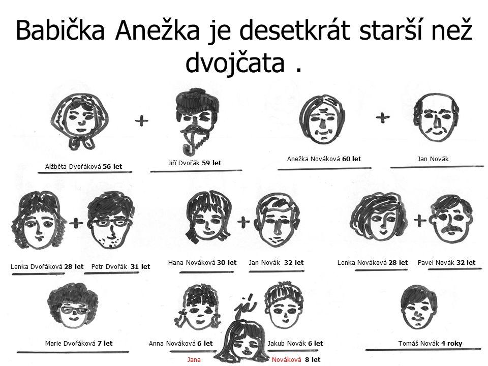 Babička Anežka je desetkrát starší než dvojčata .