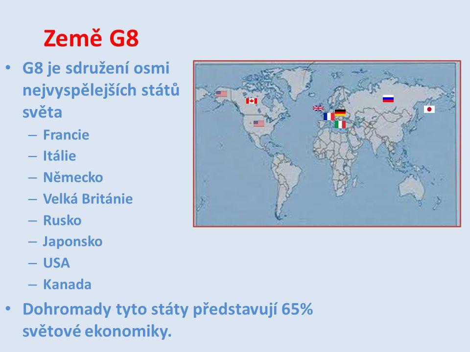Země G8 G8 je sdružení osmi nejvyspělejších států světa