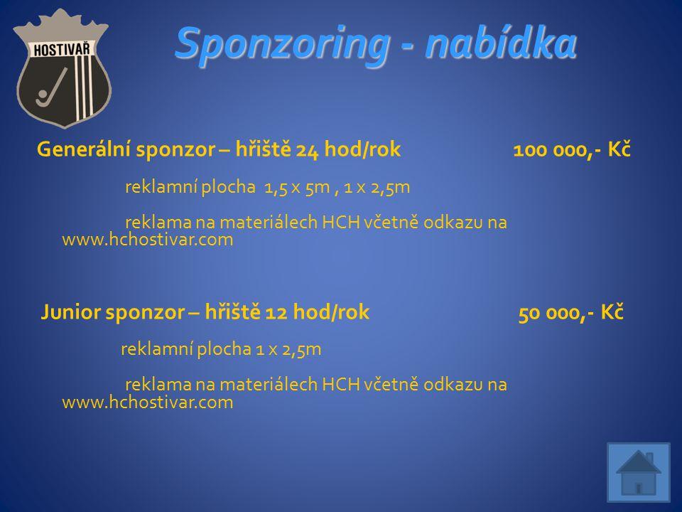 Sponzoring - nabídka Generální sponzor – hřiště 24 hod/rok 100 000,- Kč. reklamní plocha 1,5 x 5m , 1 x 2,5m.