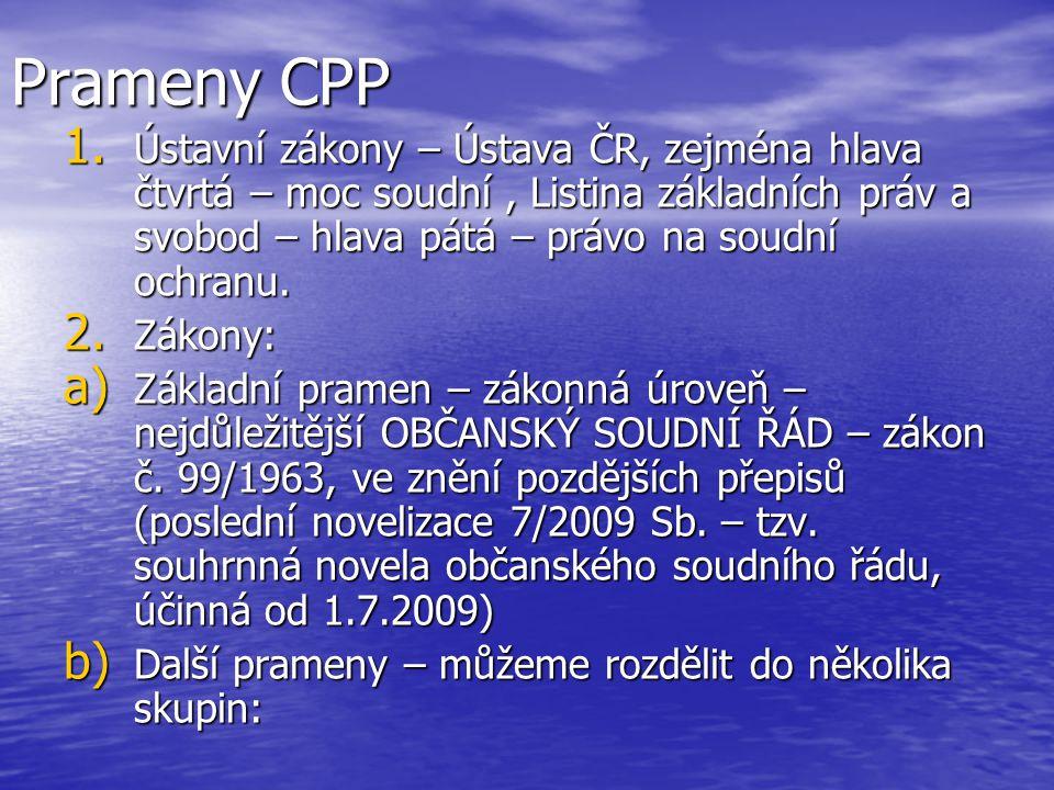 Prameny CPP Ústavní zákony – Ústava ČR, zejména hlava čtvrtá – moc soudní , Listina základních práv a svobod – hlava pátá – právo na soudní ochranu.