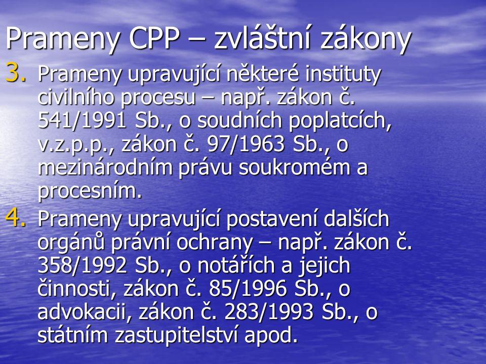 Prameny CPP – zvláštní zákony