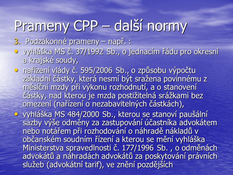 Prameny CPP – další normy