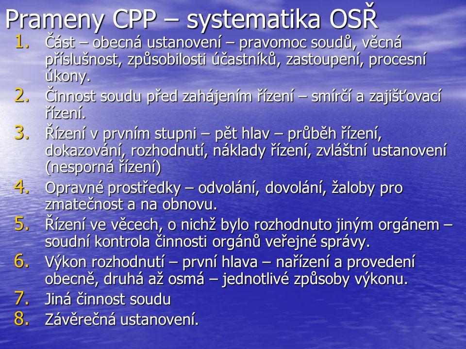 Prameny CPP – systematika OSŘ
