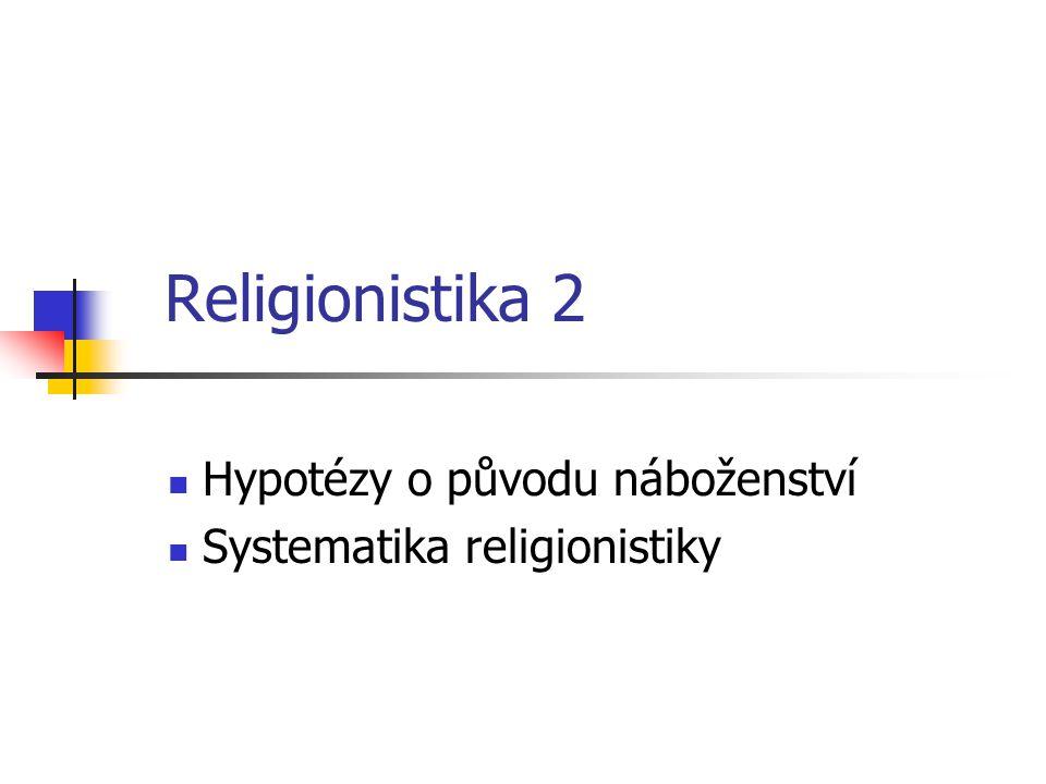 Hypotézy o původu náboženství Systematika religionistiky
