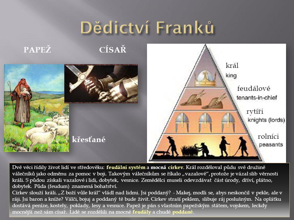 Dědictví Franků PAPEŽ CÍSAŘ křesťané král feudálové rytíři rolníci