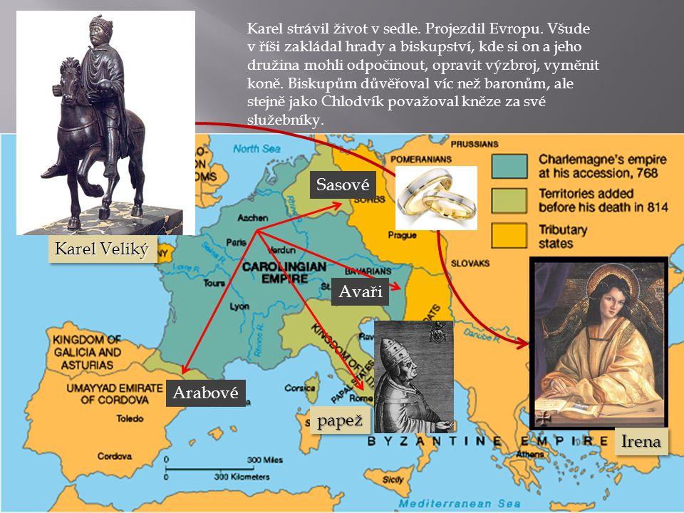 Sasové Karel Veliký Avaři Arabové papež Irena
