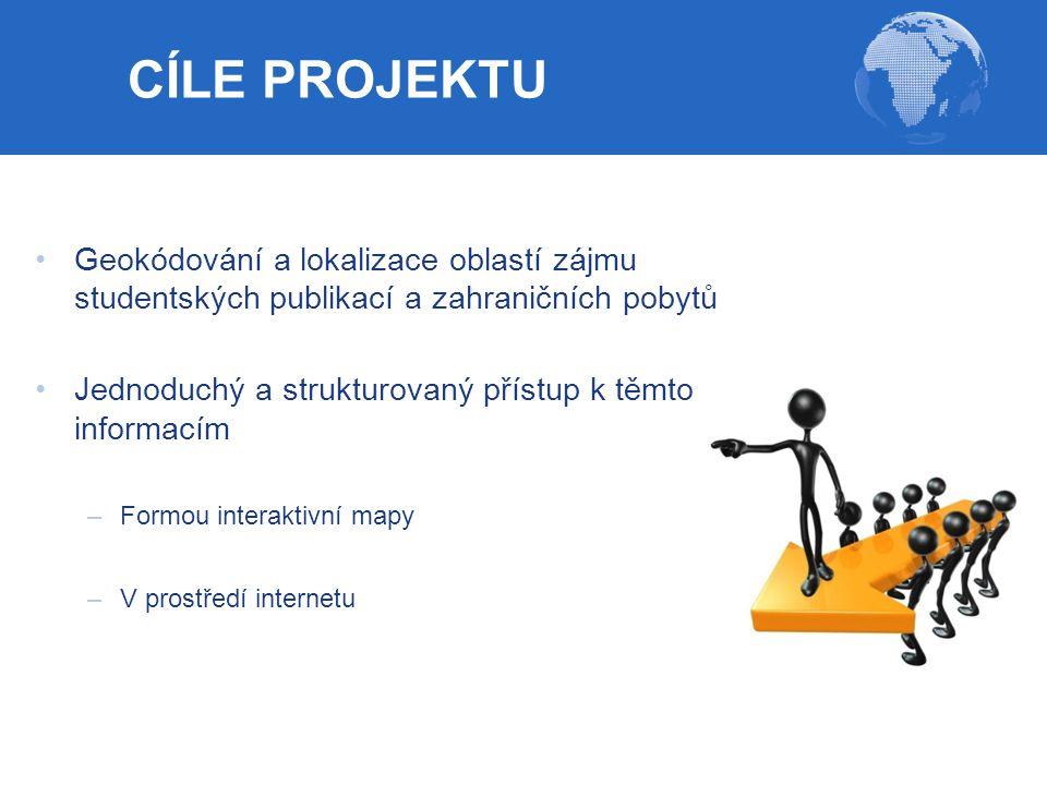 CÍLE PROJEKTU Geokódování a lokalizace oblastí zájmu studentských publikací a zahraničních pobytů.