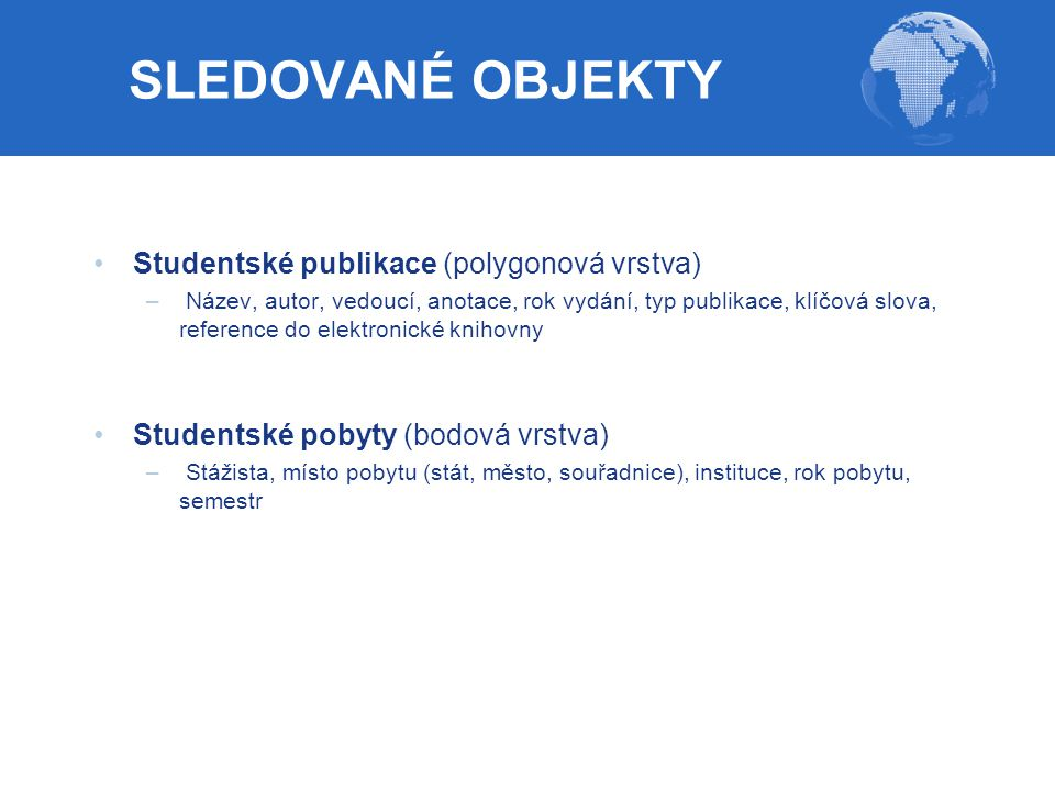 SLEDOVANÉ OBJEKTY Studentské publikace (polygonová vrstva)