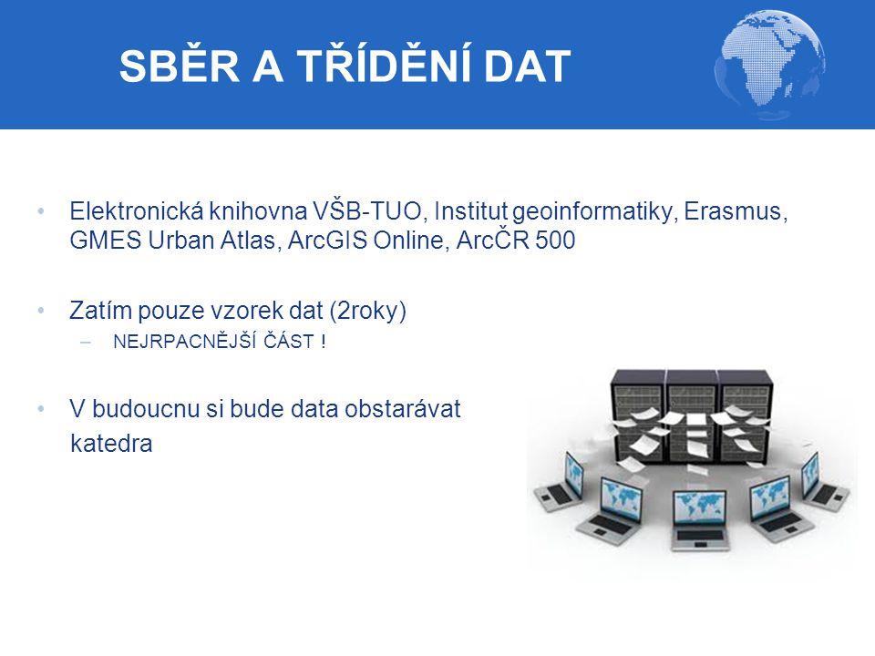 SBĚR A TŘÍDĚNÍ DAT Elektronická knihovna VŠB-TUO, Institut geoinformatiky, Erasmus, GMES Urban Atlas, ArcGIS Online, ArcČR 500.