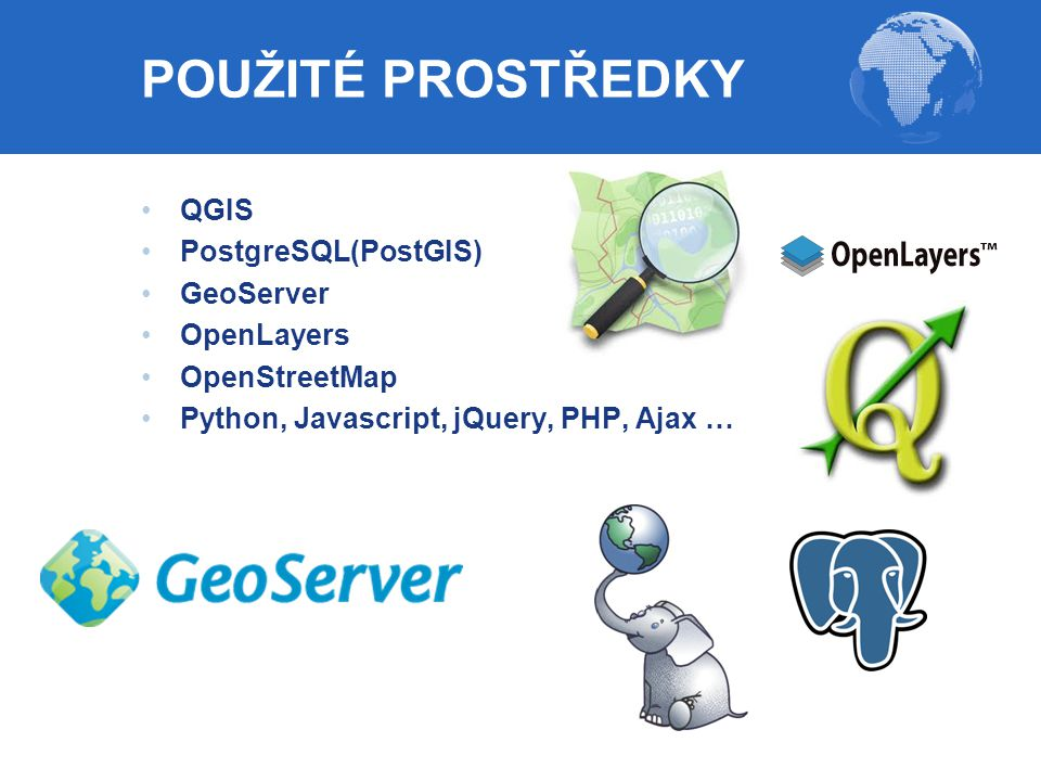 POUŽITÉ PROSTŘEDKY QGIS PostgreSQL(PostGIS) GeoServer OpenLayers
