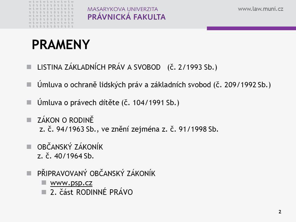 PRAMENY www.psp.cz 2. část RODINNÉ PRÁVO
