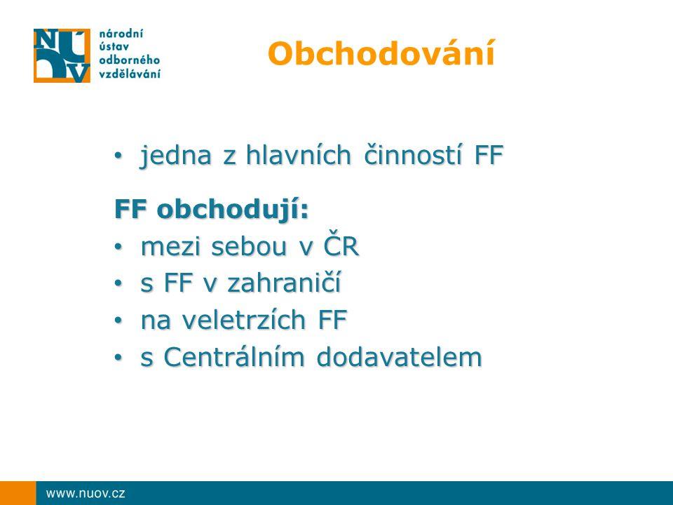 Obchodování jedna z hlavních činností FF FF obchodují: mezi sebou v ČR
