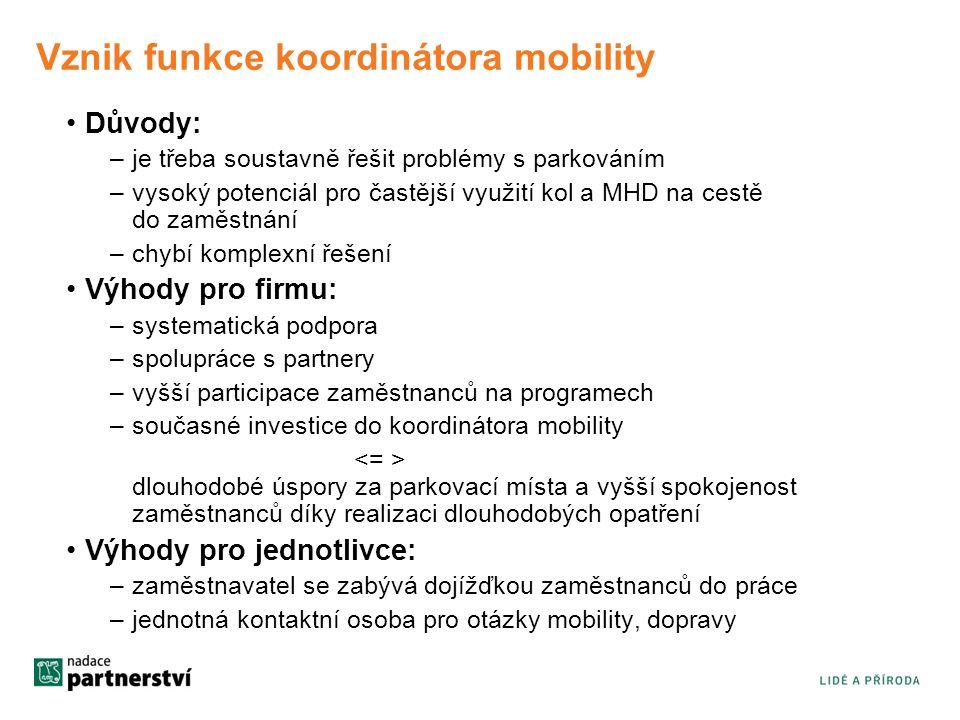 Vznik funkce koordinátora mobility
