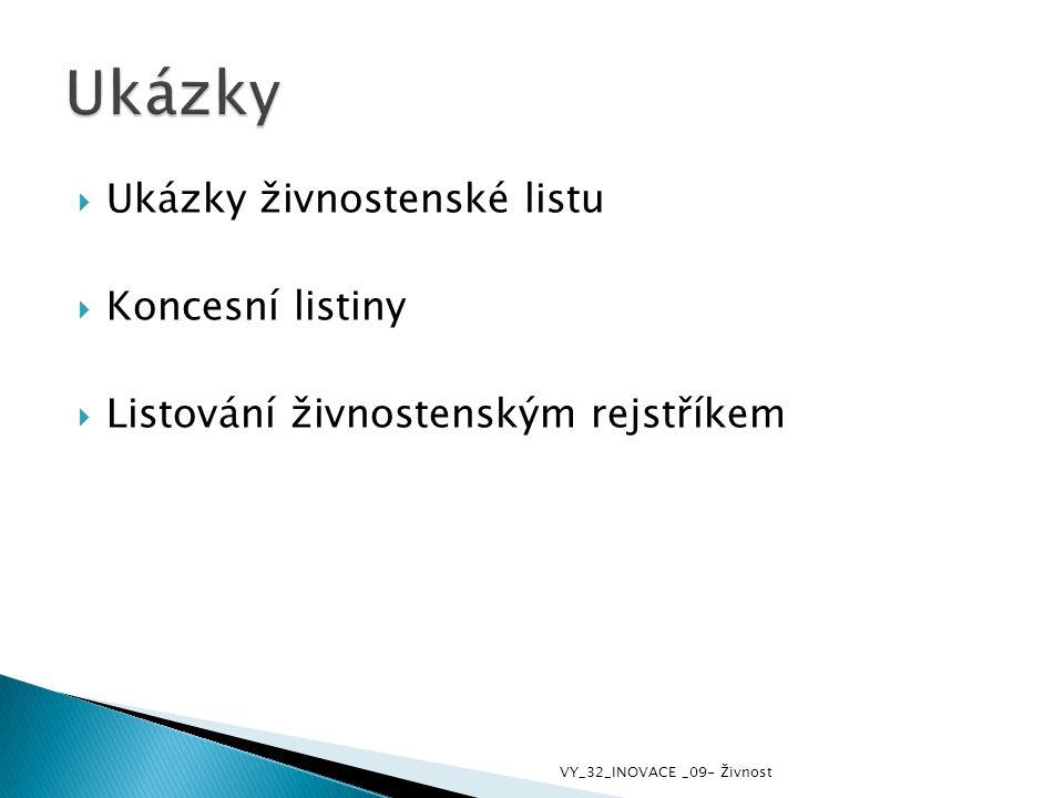 Ukázky Ukázky živnostenské listu Koncesní listiny