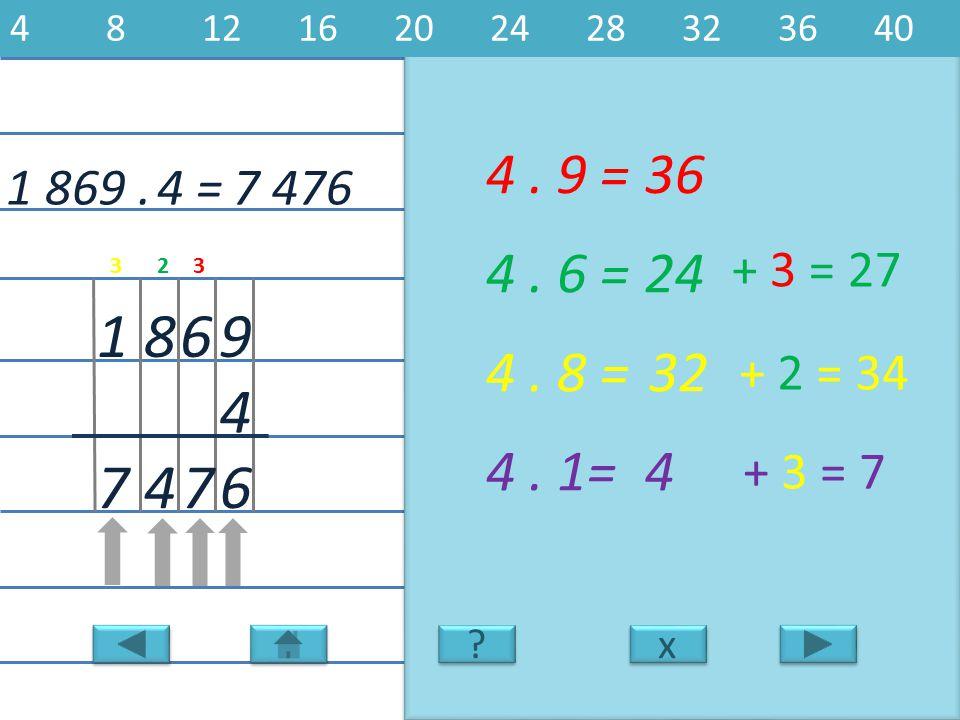 4 8 12 16 20 24 28 32 36 40 4 . 9 = 36. 1 869 . 4 = 7 476. 4 . 6 = 24. + 3 = 27. 3. 2. 3.
