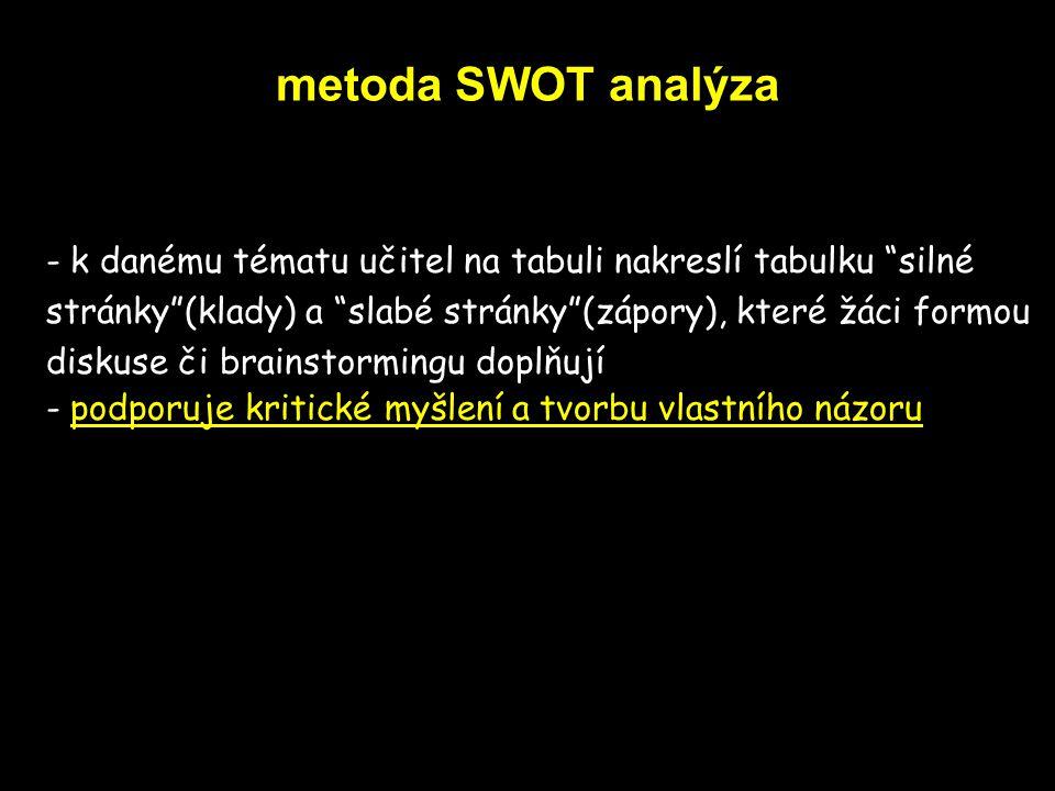 metoda SWOT analýza