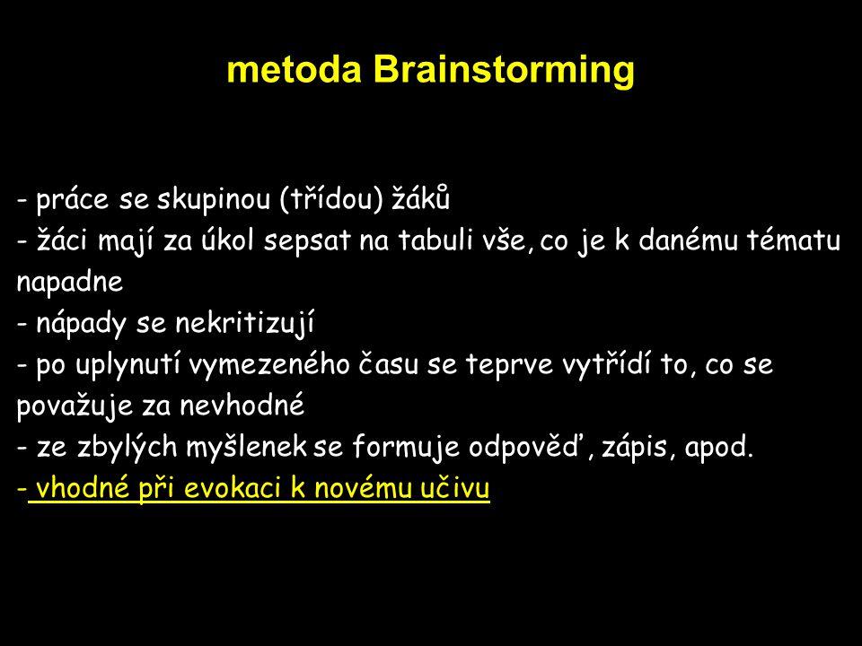 metoda Brainstorming práce se skupinou (třídou) žáků